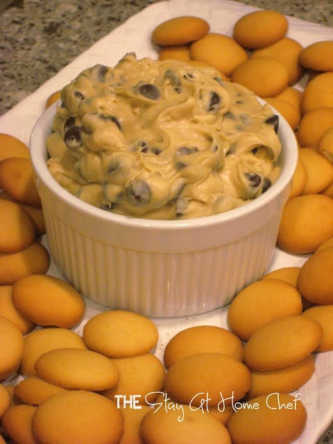 Chocolate Chip Cookie Dough Dip served on a platter with vanilla wafers