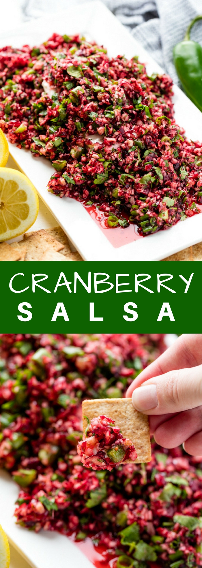 Cranberry Salsa is an amazing holiday appetizer that is pretty taste served over cream cheese. Fresh cranberries are minced up with jalapeno into a healthy, fresh, and vibrant salsa.