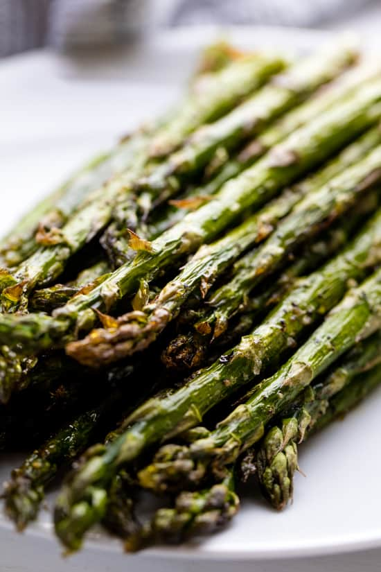 A stack of roasted asparagus