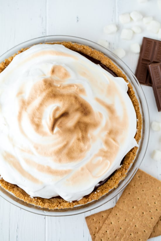 S'mores pie from scratch with a golden Italian meringue topping