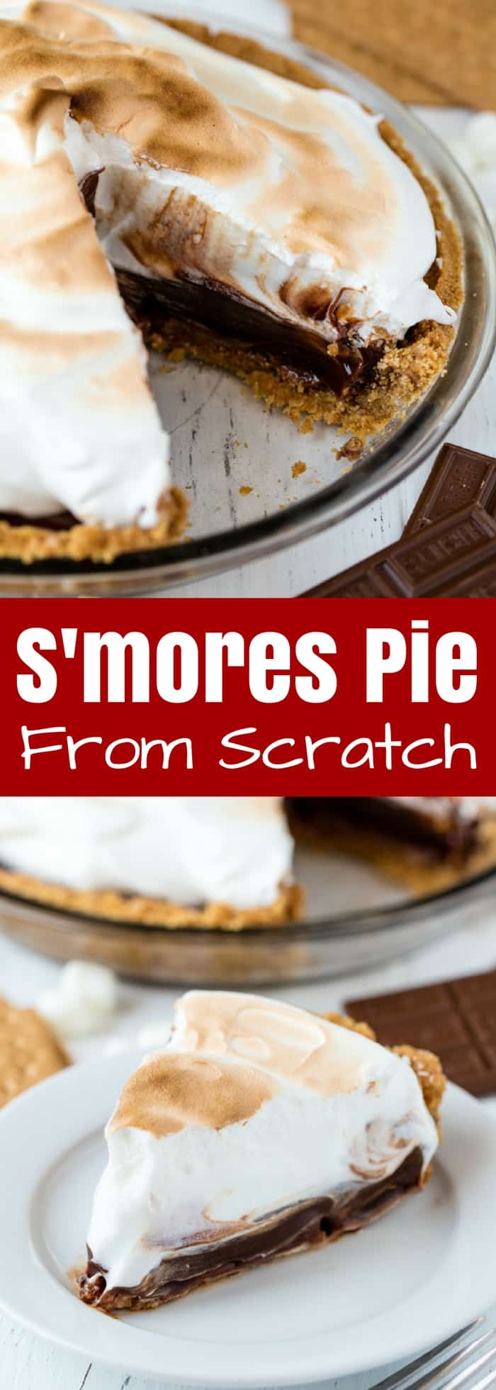 This S'mores Pie is made completely from scratch from the homemade graham cracker crust, to the hot fudge filling, to the finale sweet Italian meringue. It's decadent, rich, and absolutely delicious!