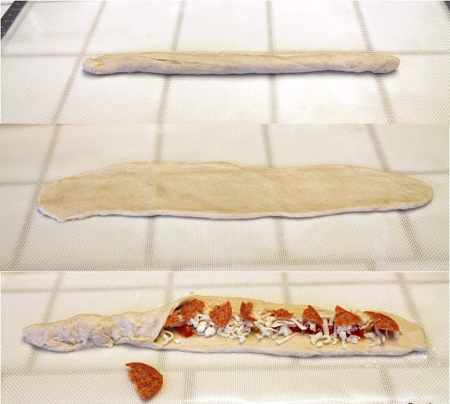 """Dough is rolled into a """"snake."""" """"Snake"""" is flattened. Toppings are added to flattened dough, then dough is pinched closed around the fillings"""