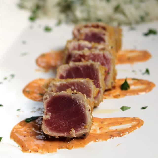 panko crusted ahi tuna with aioli
