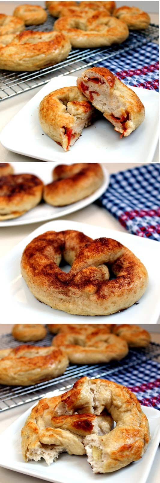 Pretzels 3 ways: Some of my favorite are pizza (sauce, mozzarella, and pepperoni), cream cheese topped with cinnamon sugar or spinach artichoke dip