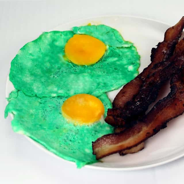 Green eggs and ham or bacon