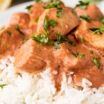 chicken tikka masala on white rice and white plate