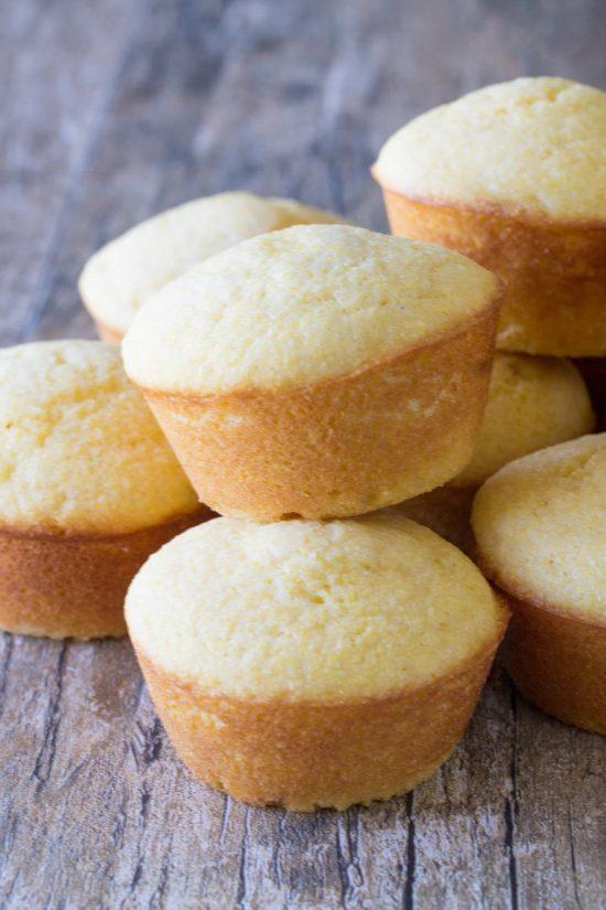 A pile of buttermilk cornbread muffins