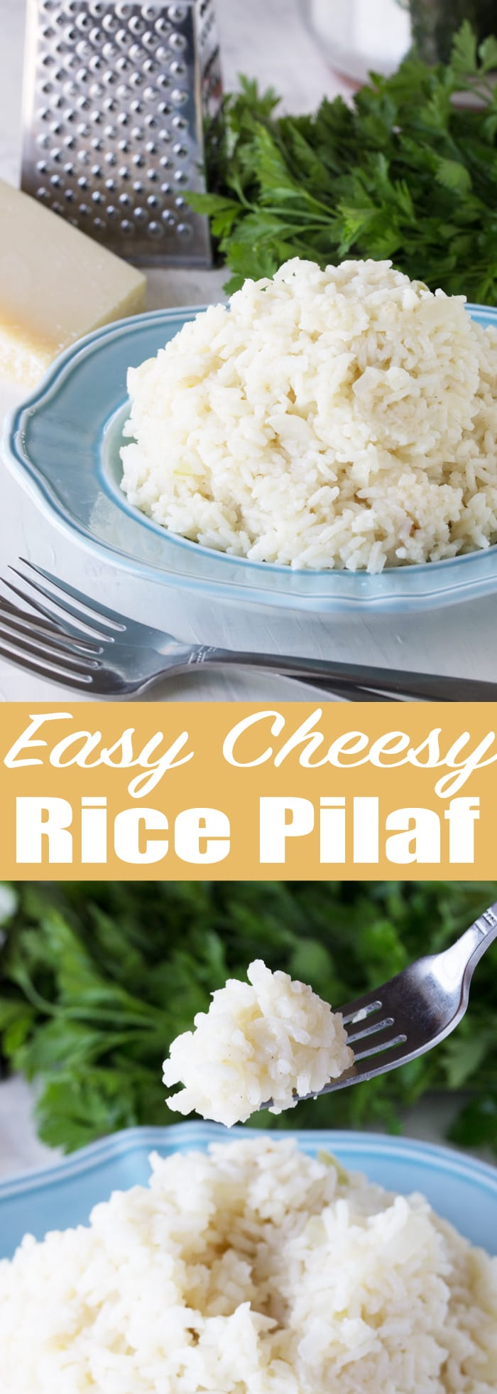 Easy Cheesy Rice Pilaf is a side dish that goes with anything! Toasted rice is cooked in chicken broth and then parmesan cheese is melted in to create a side dish that is sure to please!