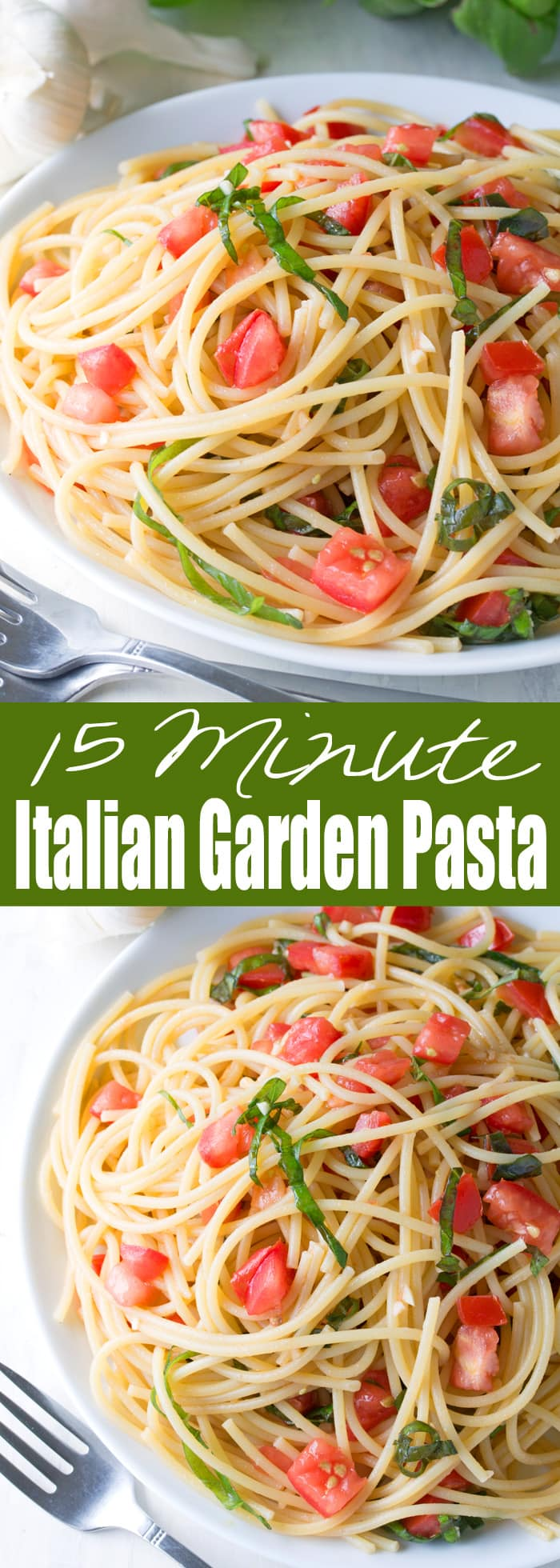 This fresh summer pasta can be eaten hot or cold and comes together in just minutes. It's 15 Minute Italian Garden Pasta and it's amazingly delicious!