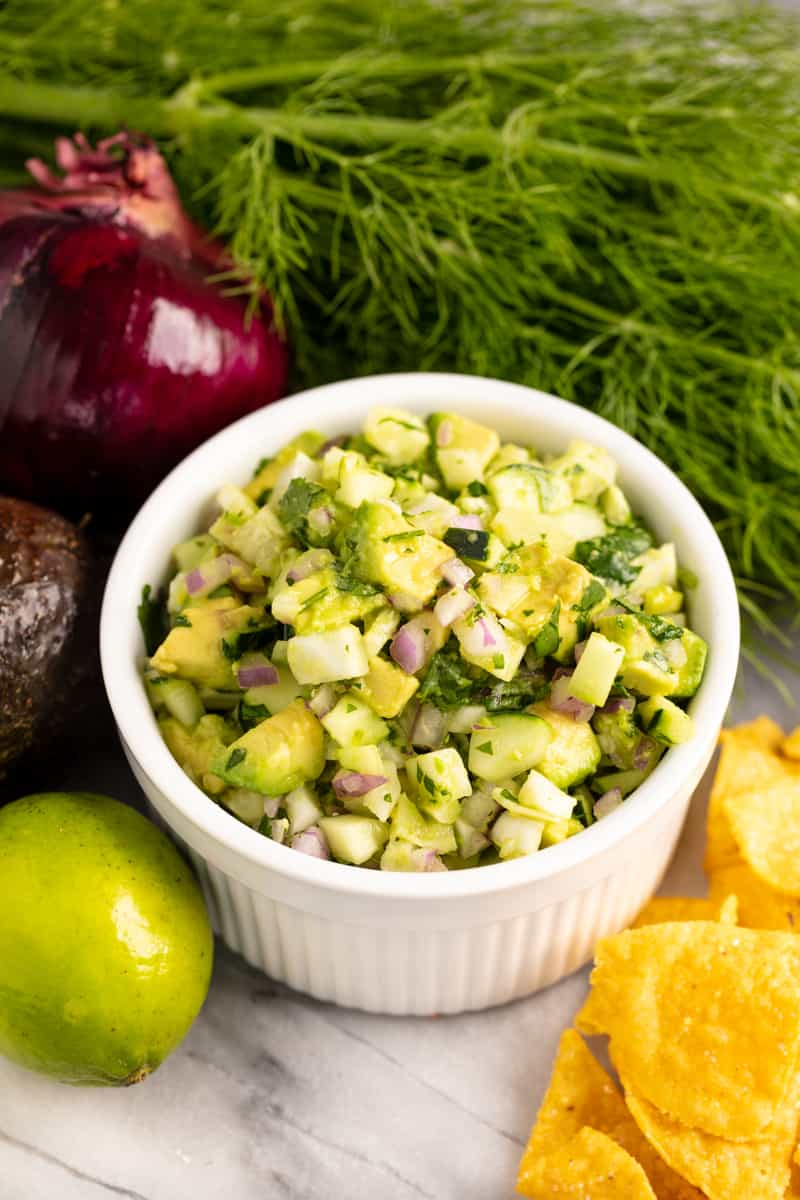 Avocado Fennel Salsa in a white bowl.