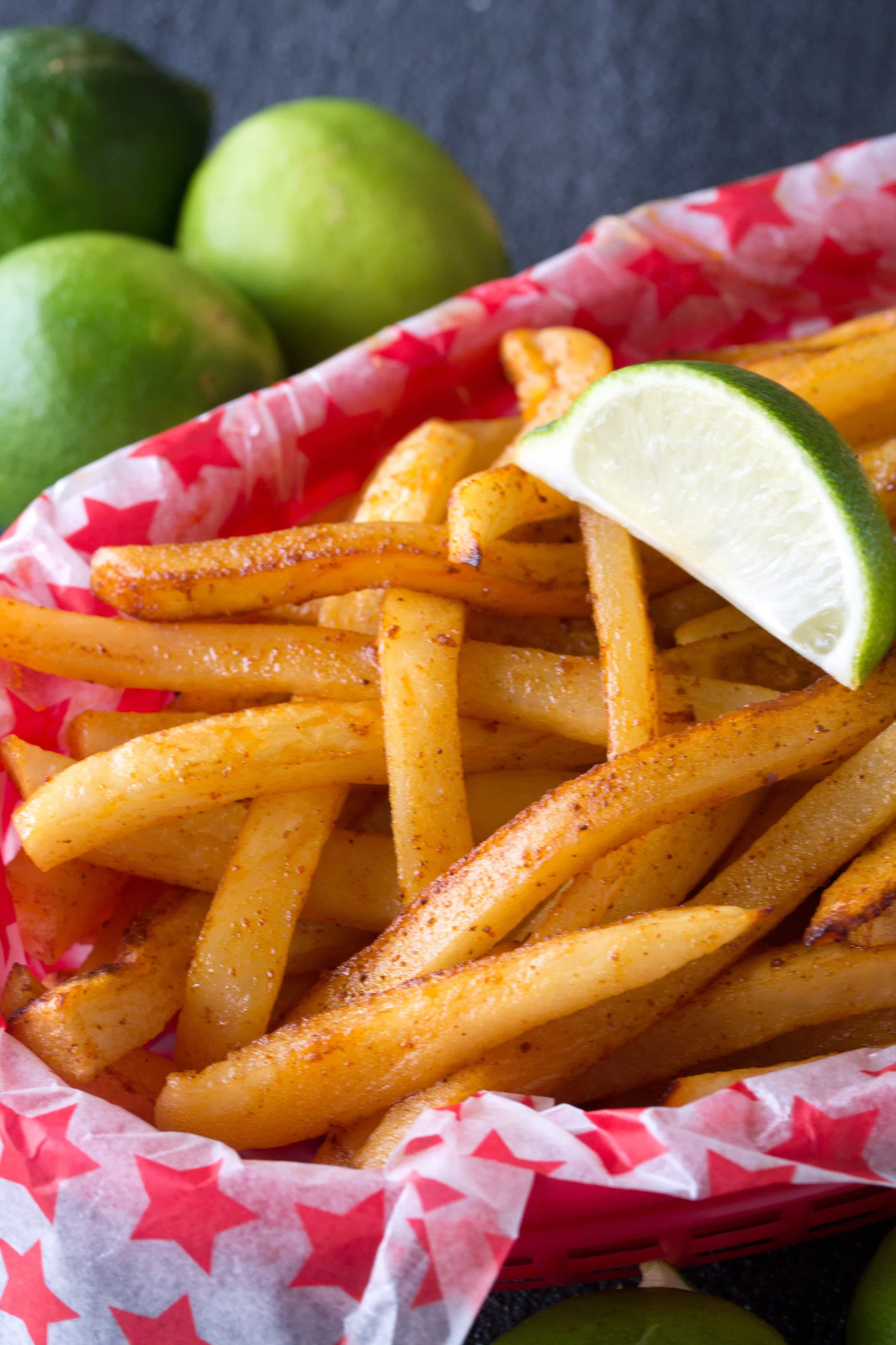 Baked French Fries With A Spicy Chili Lime Coating. These Baked Chili Lime