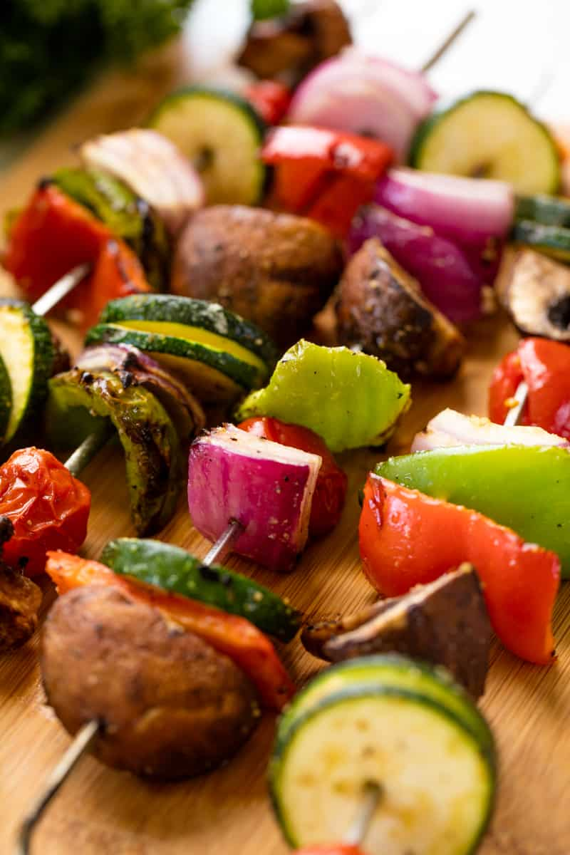 Grilled Vegetable kebabs on metal skewers