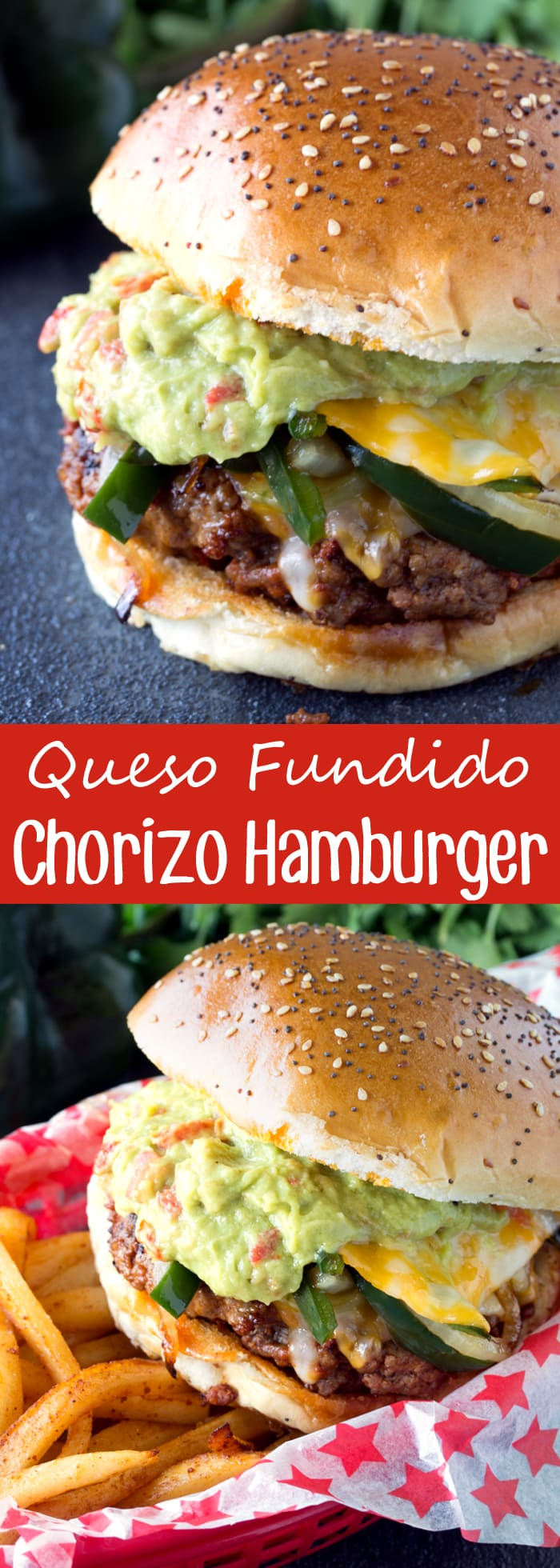 This Mexican-inspired burger packs a punch of flavor with the chorizo ground beef patty smothered in peppers, onions, and cheese. It's a Queso Fundido Chorizo Hamburger.