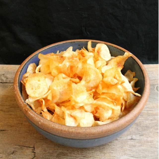 Homemade Salt and Vinegar Chips in a ceramic bowl