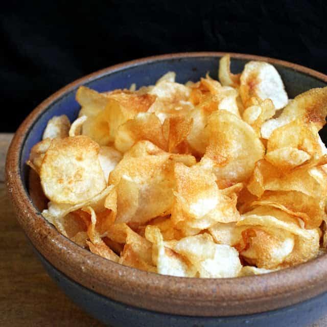 Salt and vinegar chips in a bowl.