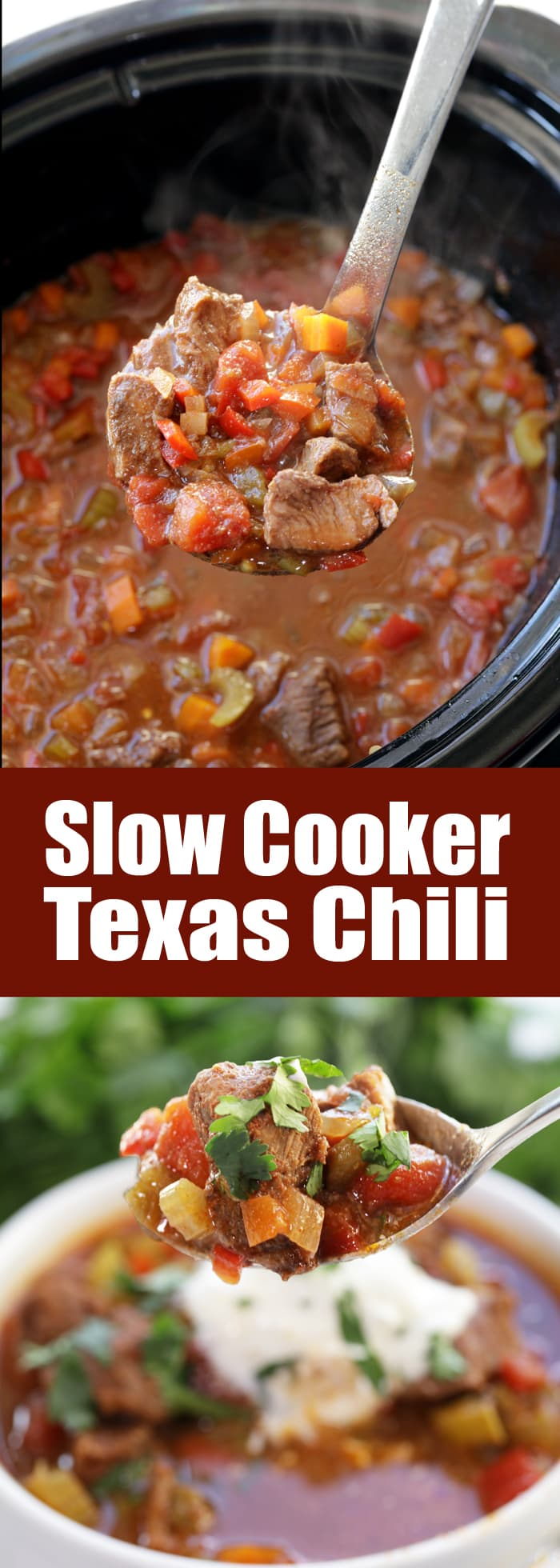 Hearty chunks of beef make up this amazing Slow Cooker Texas Beef Chili. No beans, just flavor! This is a chili everyone will love!