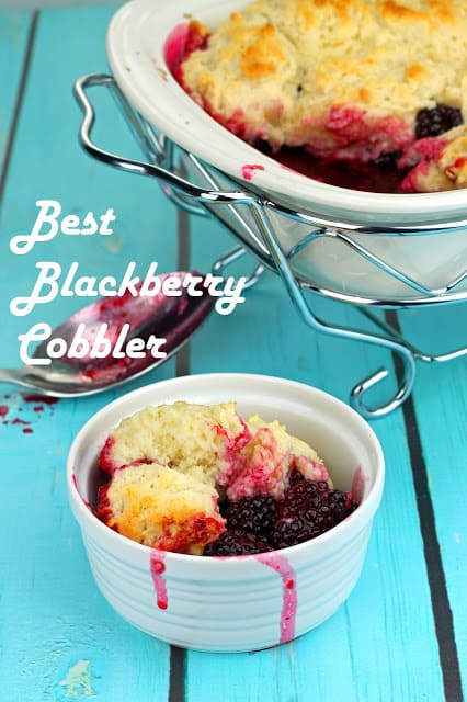 Blackberry Cobbler in a small white bowl with the worlds Best Blackberry Cobbler above it.