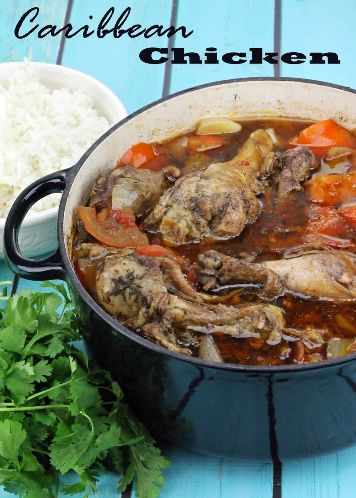Caribbean Chicken in a blue cooking pot.