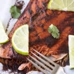Baked Chili Lime Salmon with a bite taken out of it.
