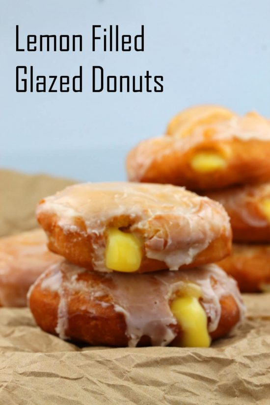 Lemon gilled glazed donuts oozing lemon curd filling