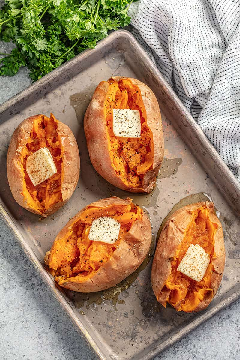 Bird's eye view of Baked Sweet Potato on a baking sheet.