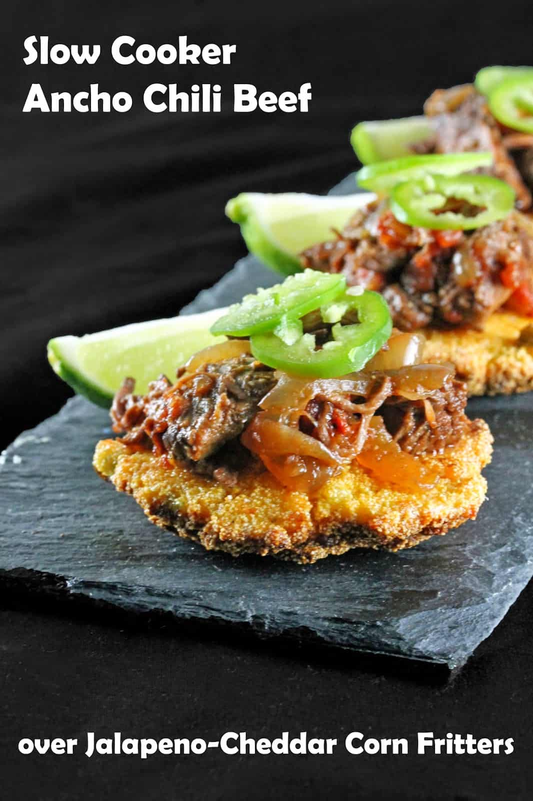 Slow Cooker Ancho Chili Shredded Beef Over Corn Fritters Thestayathomechef Com