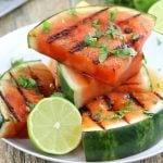 grilled watermelon slices with lime and cilantro