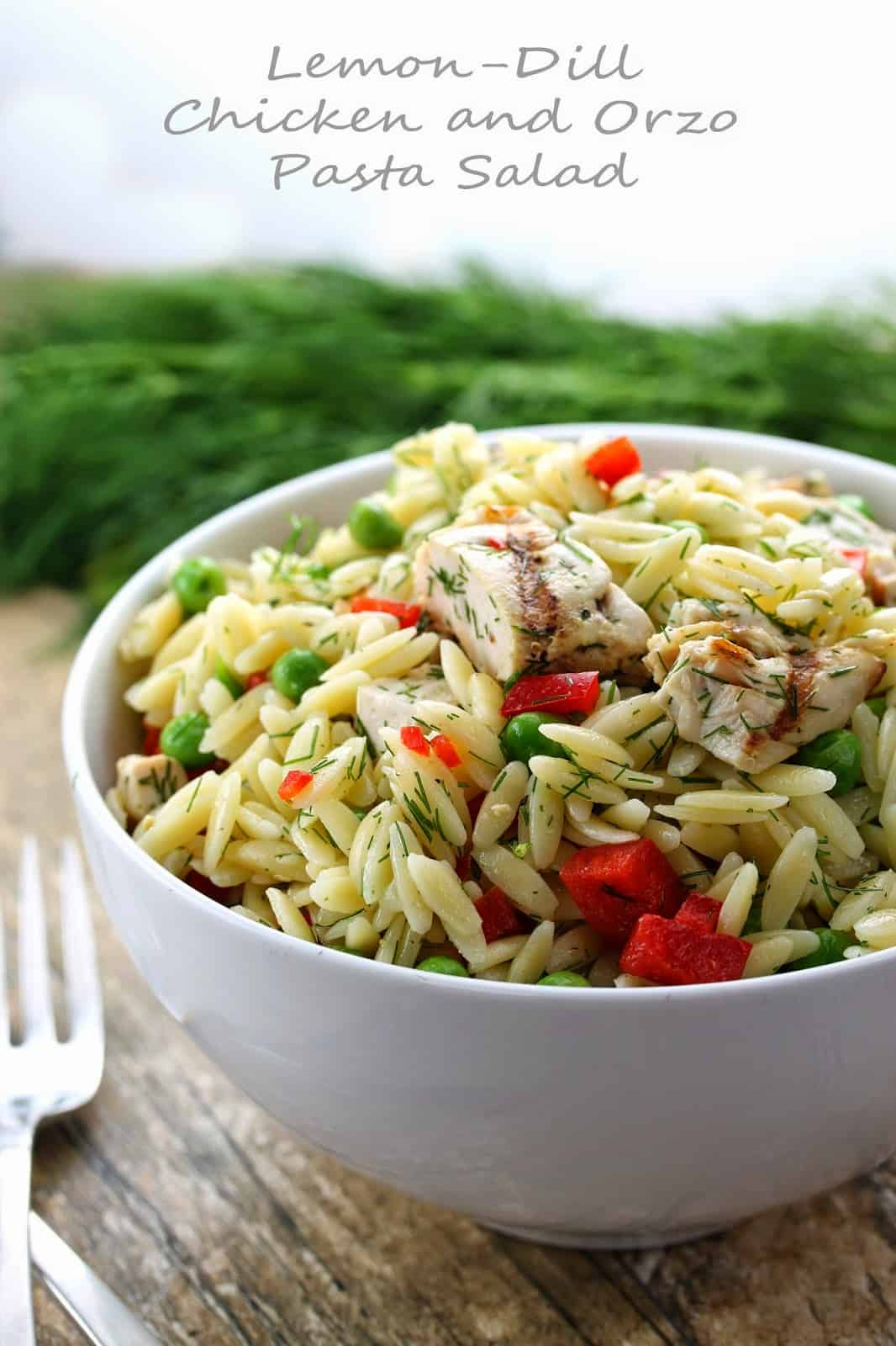 Lemon dill chicken and orzo pasta salad in a white bowl