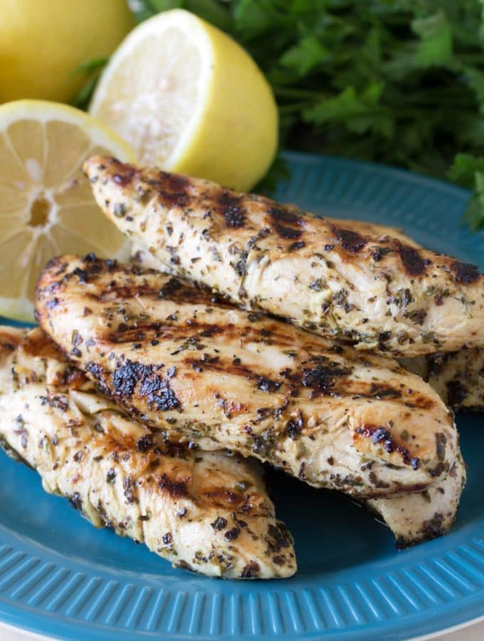 Just 7 simple ingredients is all you need to make these tasty Quick Grilled Lemon Chicken Tenders. Eat them plain or pair them with a salad or pasta. So simple!