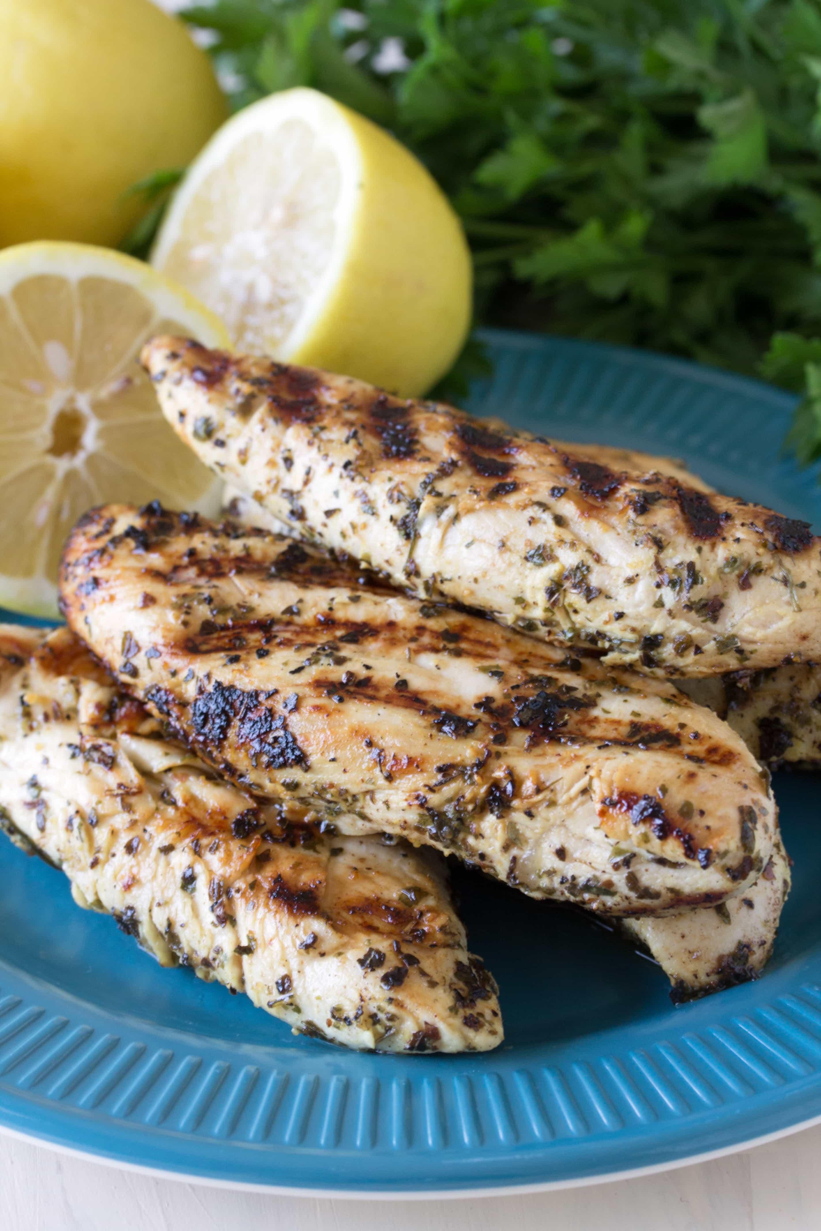 Quick Grilled Lemon Chicken Tenders