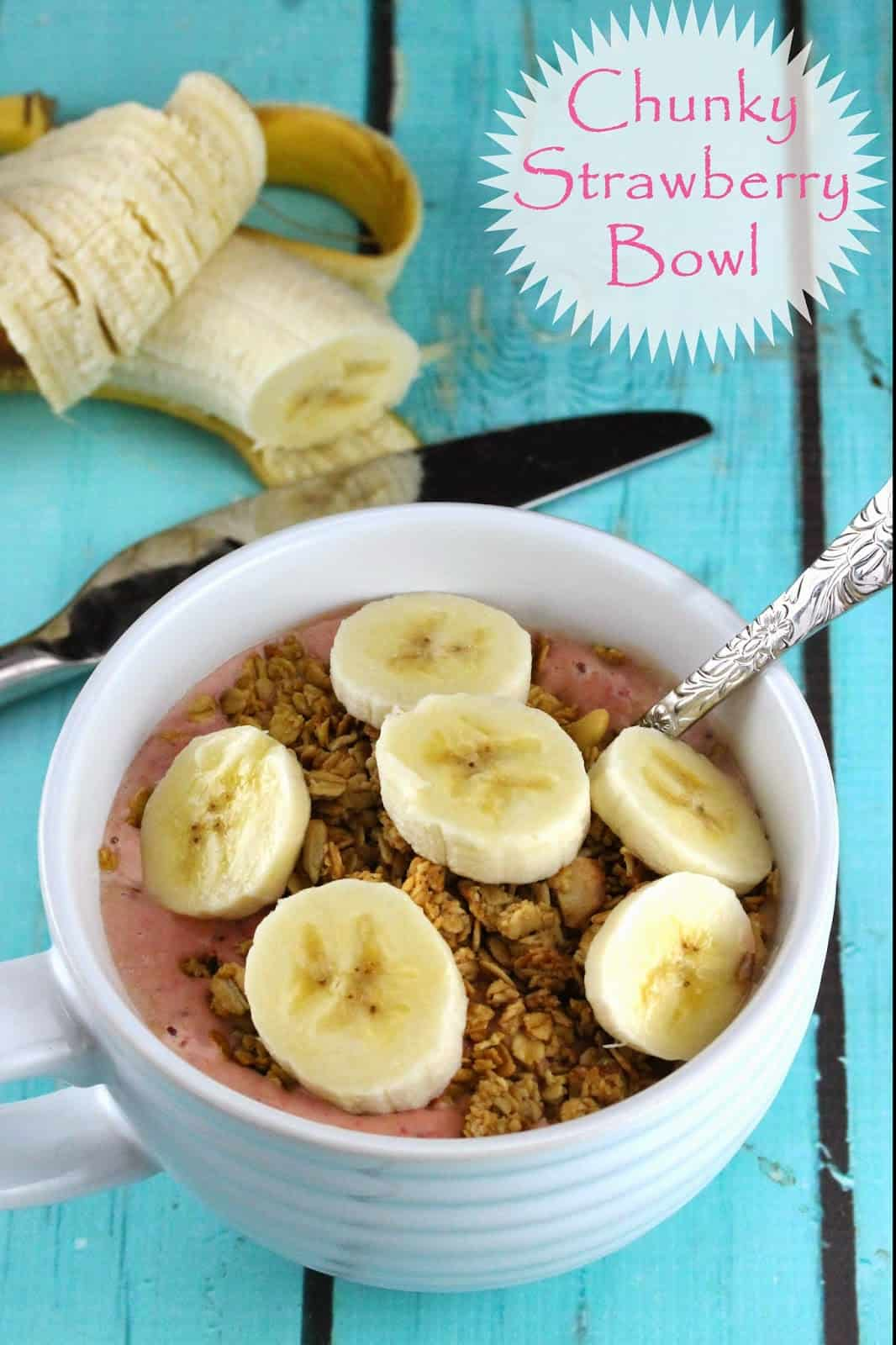 Chunky Strawberry Bowl: Granola with pureed strawberry and topped with sliced banana.