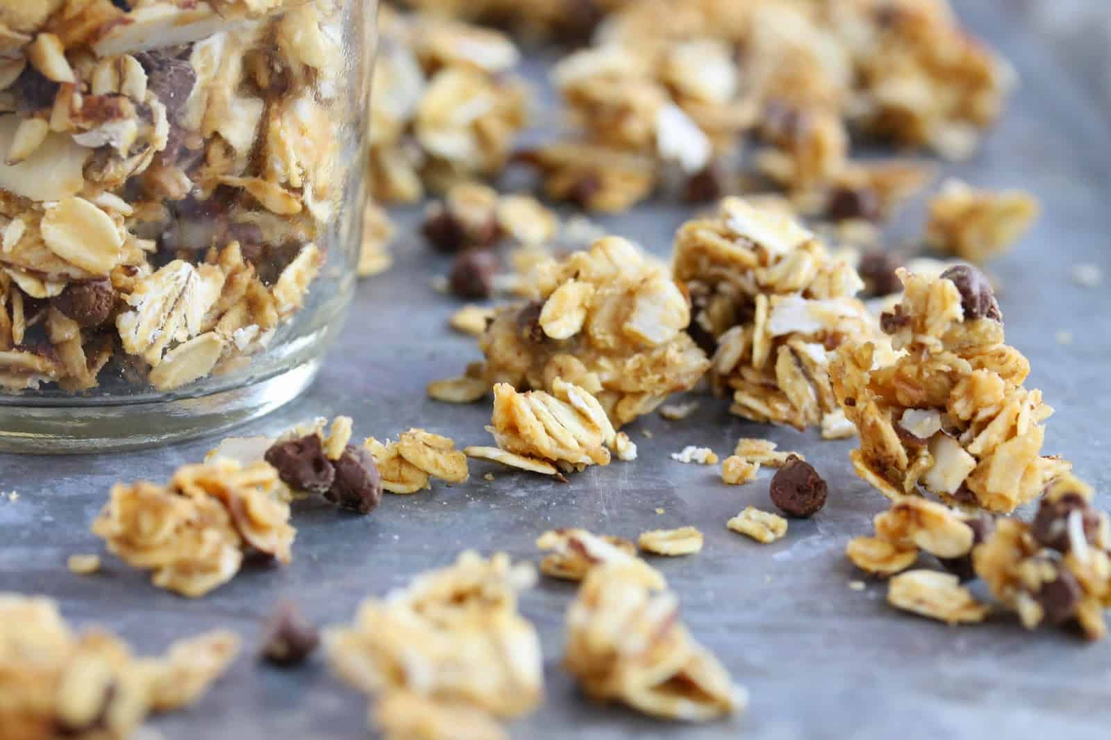 Honey Nut Granola on a countertop.
