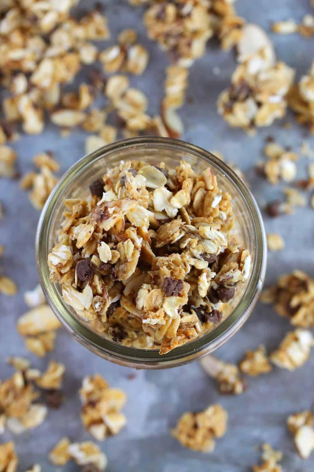 Bird's eye view of Honey Nut Granola in a mason jar.