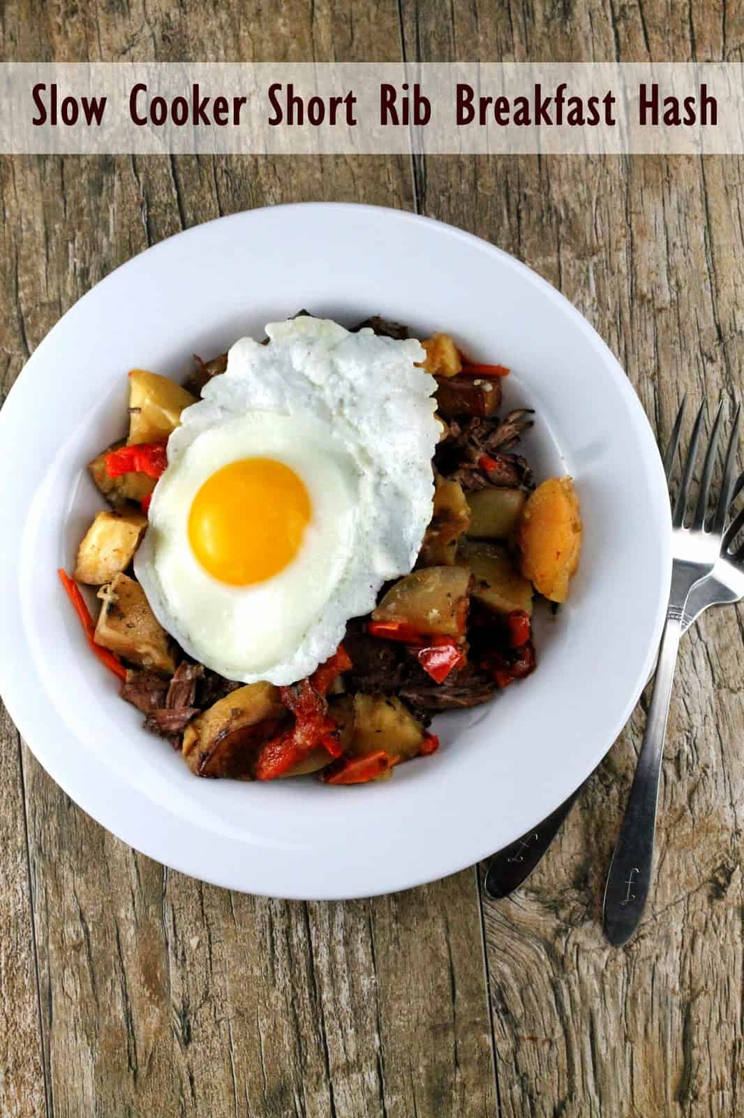Slow Cooker Overnight Short Rib Breakfast Hash: seasoned potatoes, red bell pepper and short ribs are topped with a fried egg.