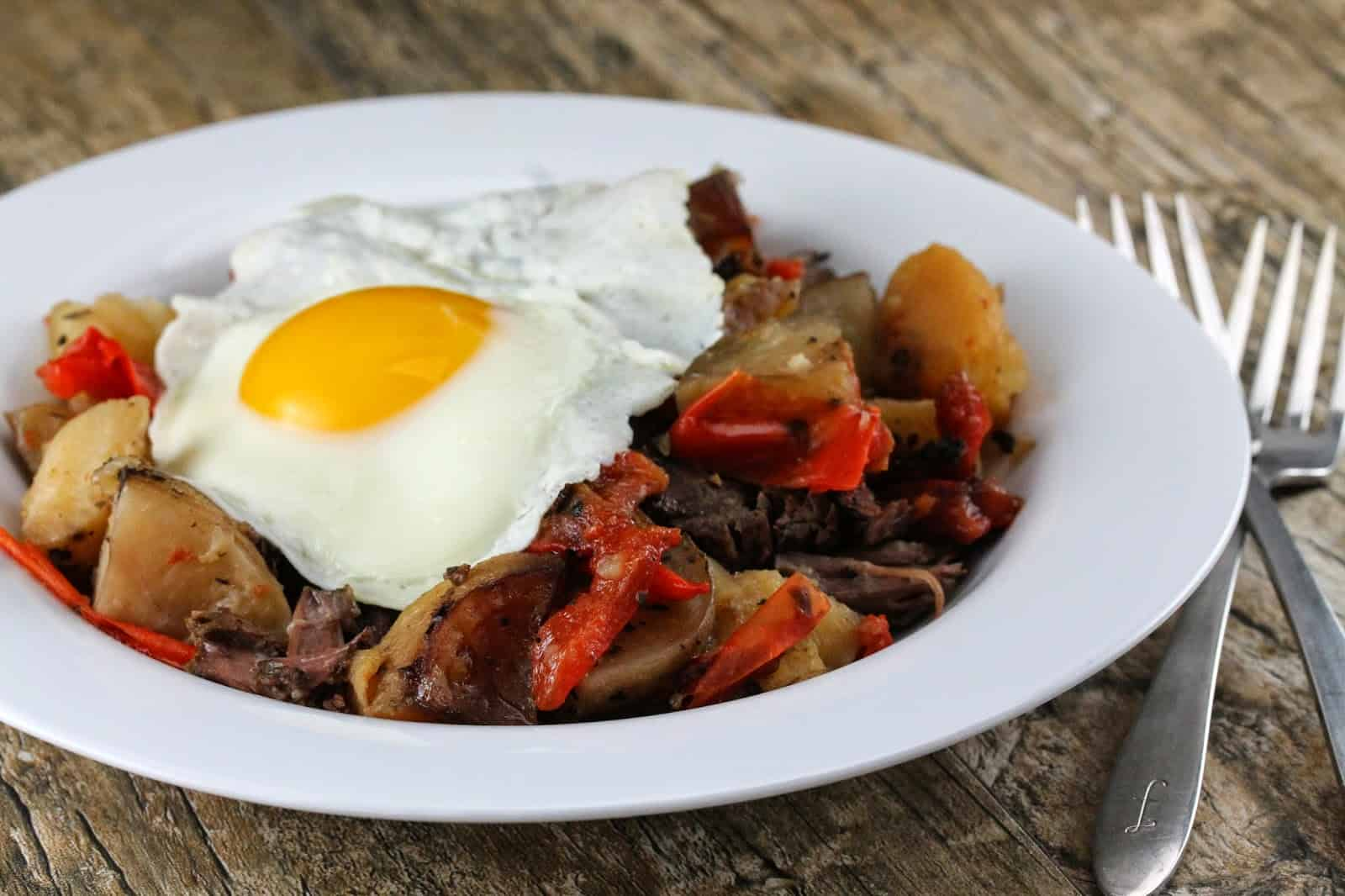 Slow Cooker Short Rib Hash on a white plate.