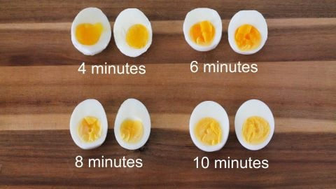 Bird's eye view of how long to boil eggs.