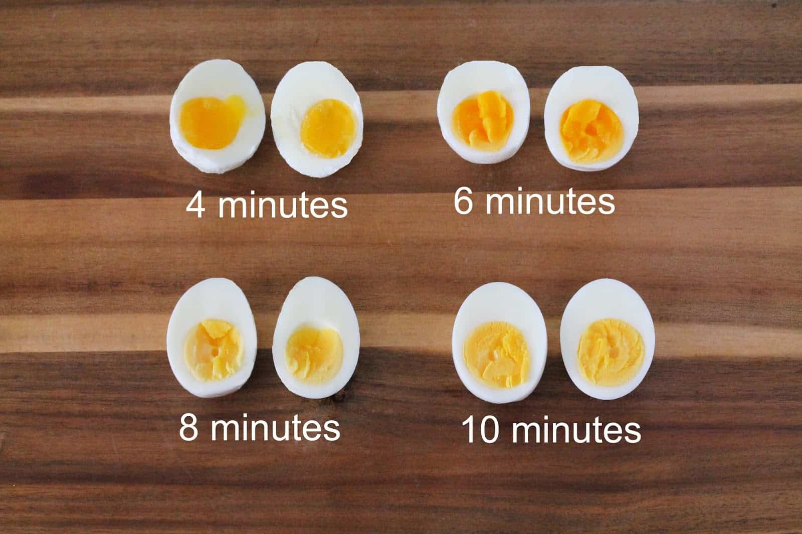 Hard Boiled Eggs at 4 minutes, 6 minutes, 8 minutes, and 10 minutes