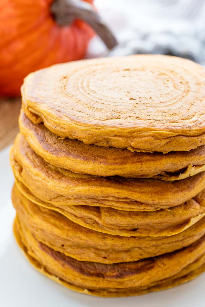 a stack of pumpkin pancakes.