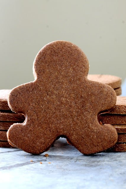 Nutella sugar cookie cut out to look like a gingerbread man
