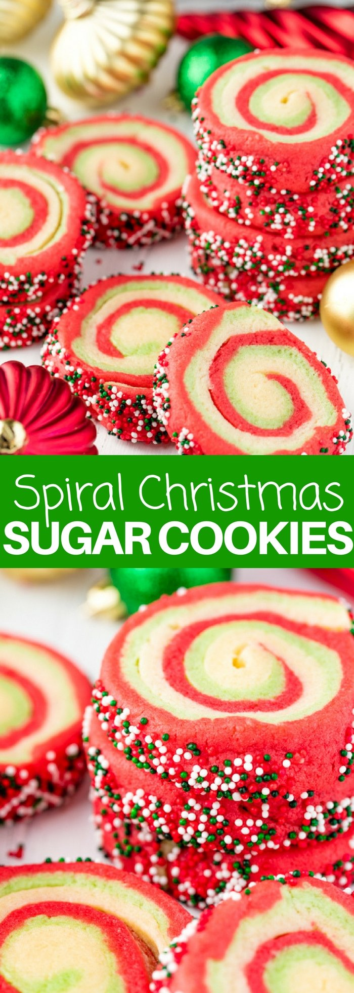 These Spiral Christmas Sugar Cookies are soft and chewy and full of festive colors!