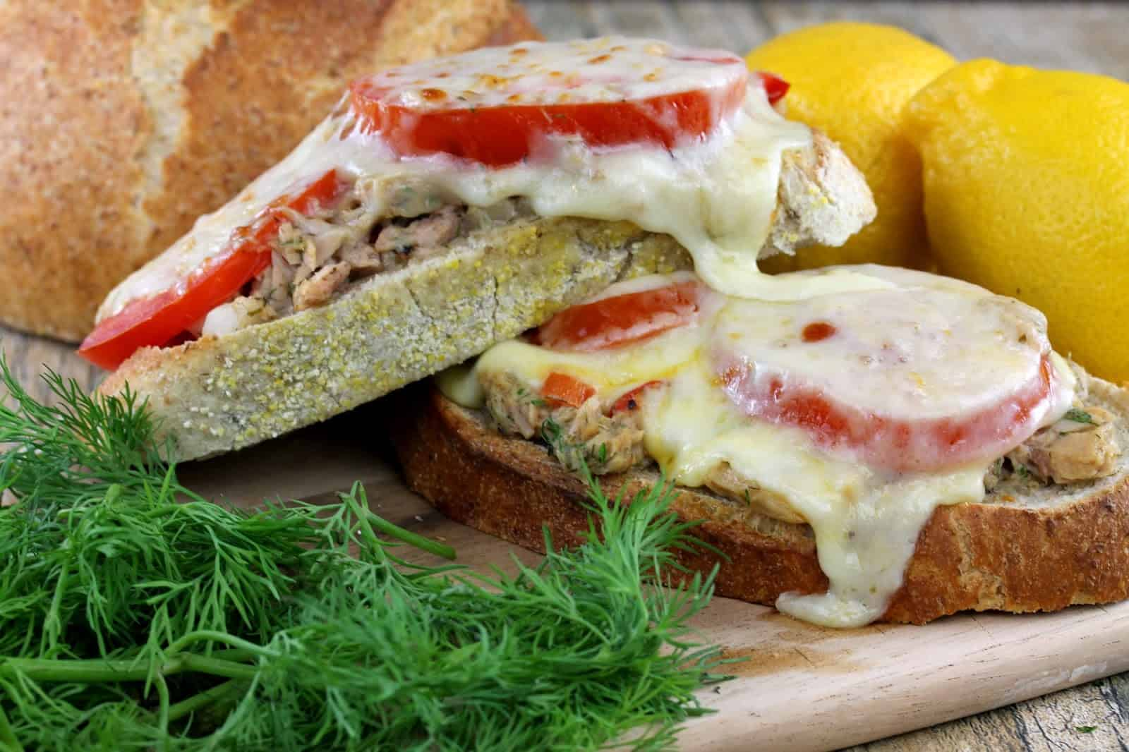 Tuna Melt on Rye: Tuna flavored with fresh dill and sliced tomato stacked on rye bread with bubbly melted cheese