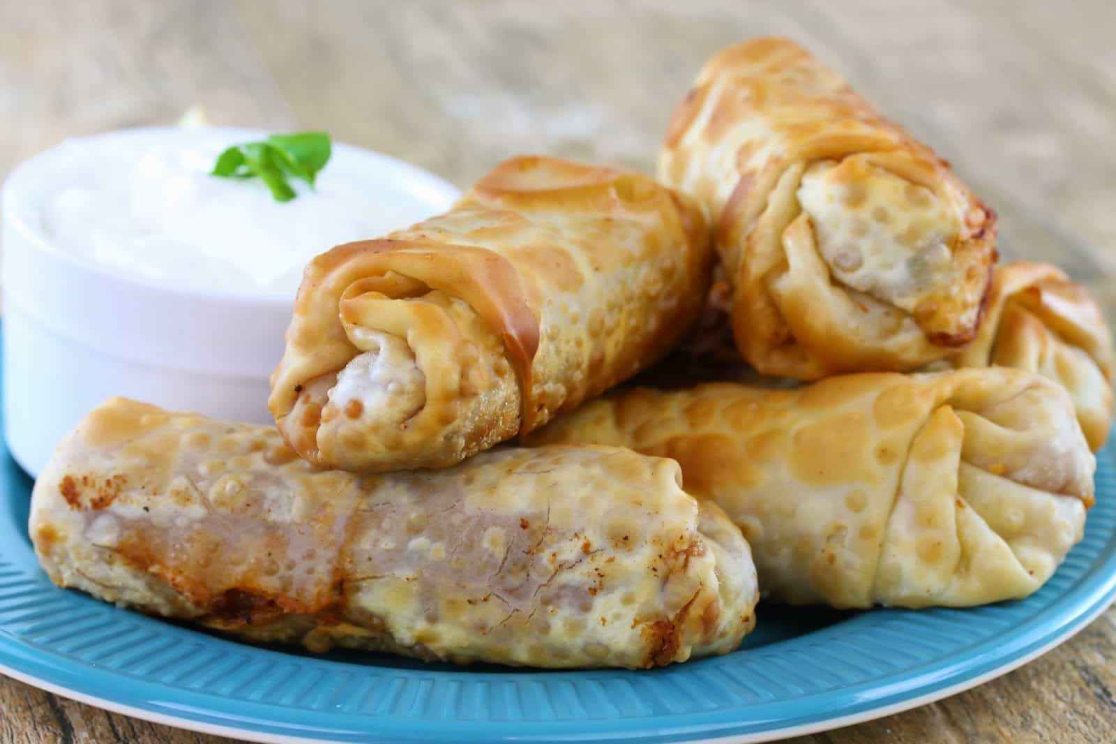 A stack of Mexican egg rolls
