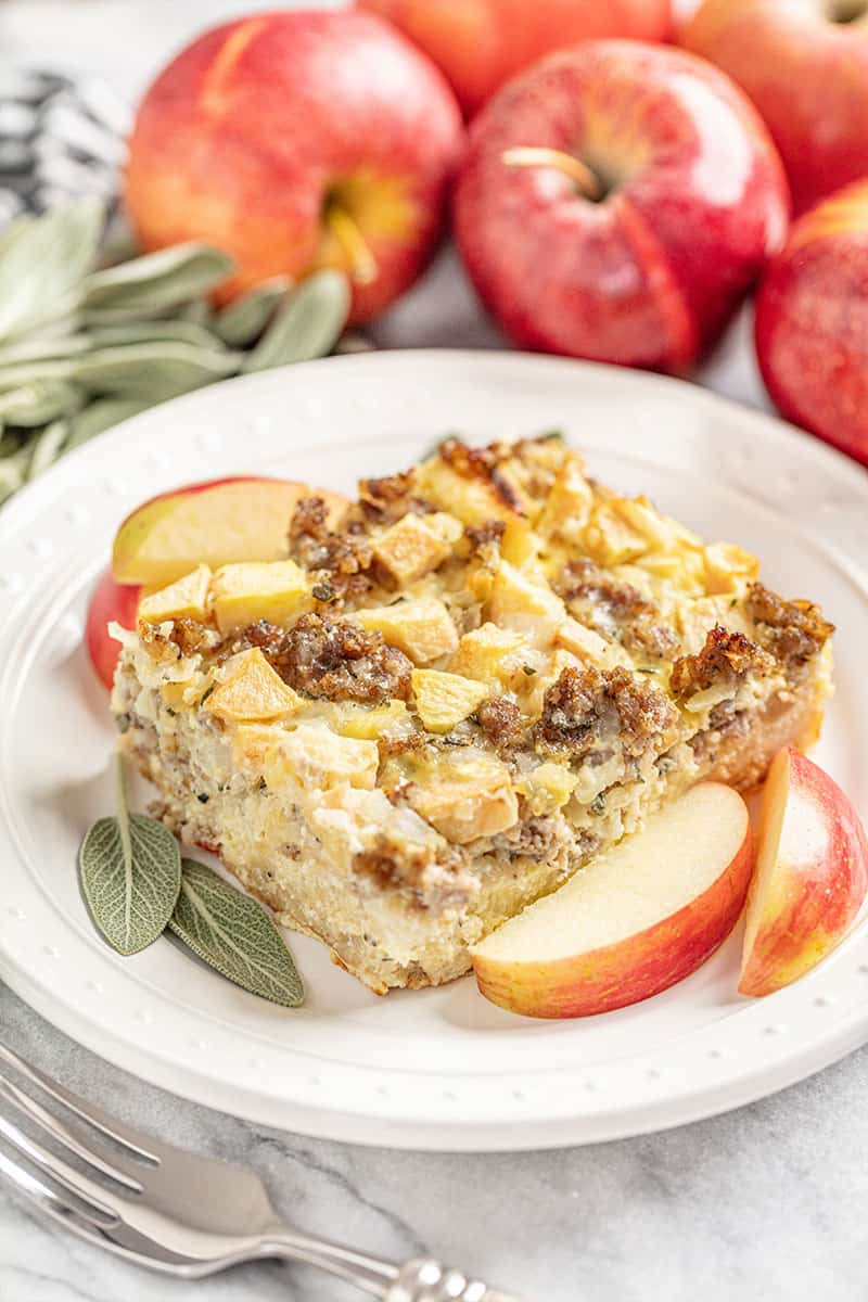 Sausage Breakfast Strata with Sage and Apple