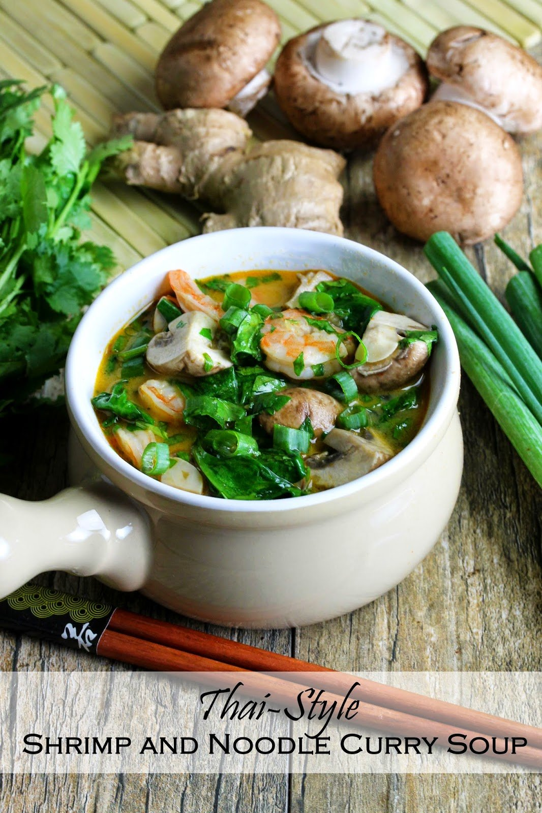 Thai Style Shrimp and Noodle Curry Soup: A coconut based soup with shrimp, mushrooms, spinach and rice noodles, garnished with green onion and cilantro.