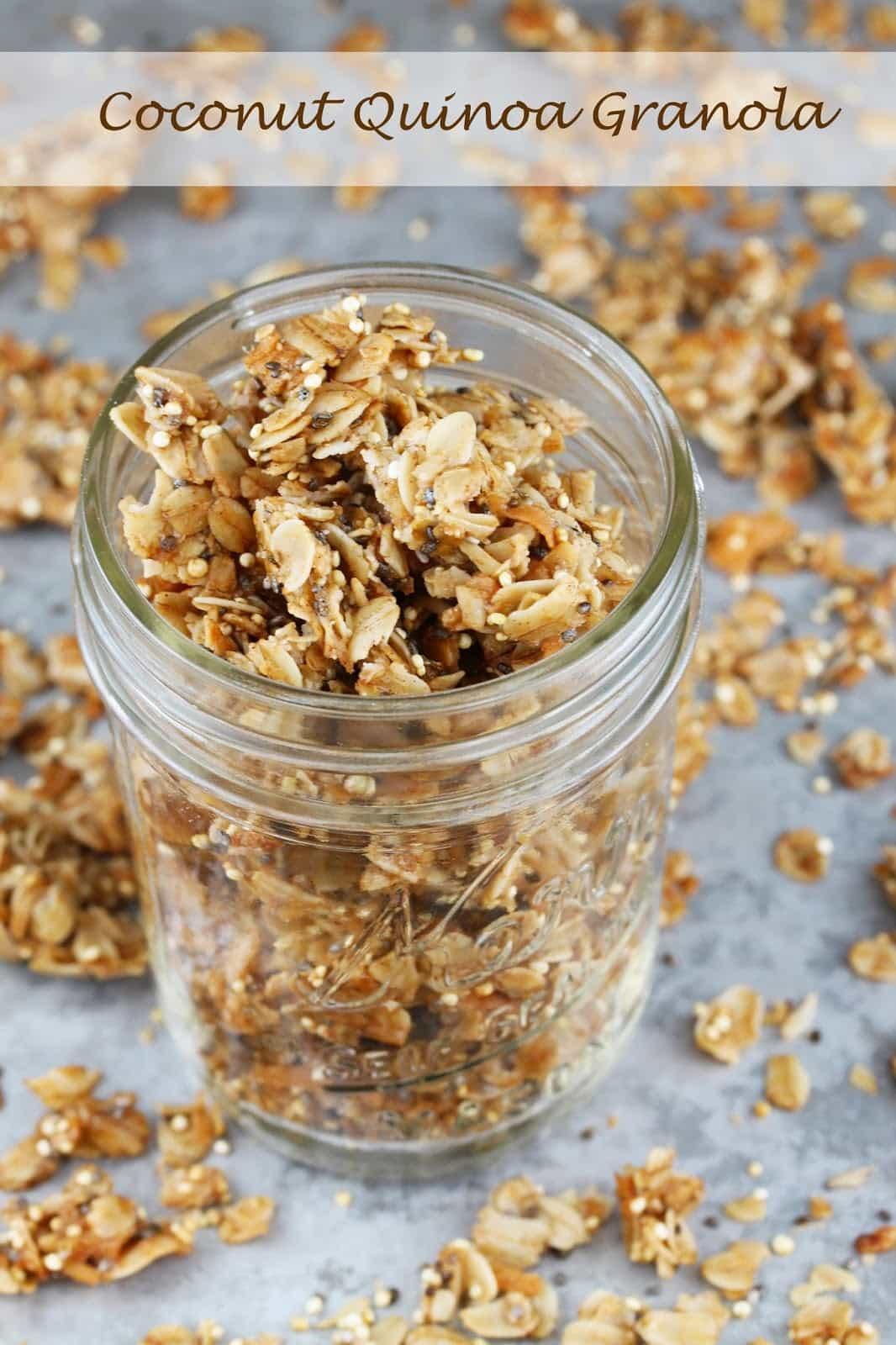 coconut quinoa granola in a glass jar