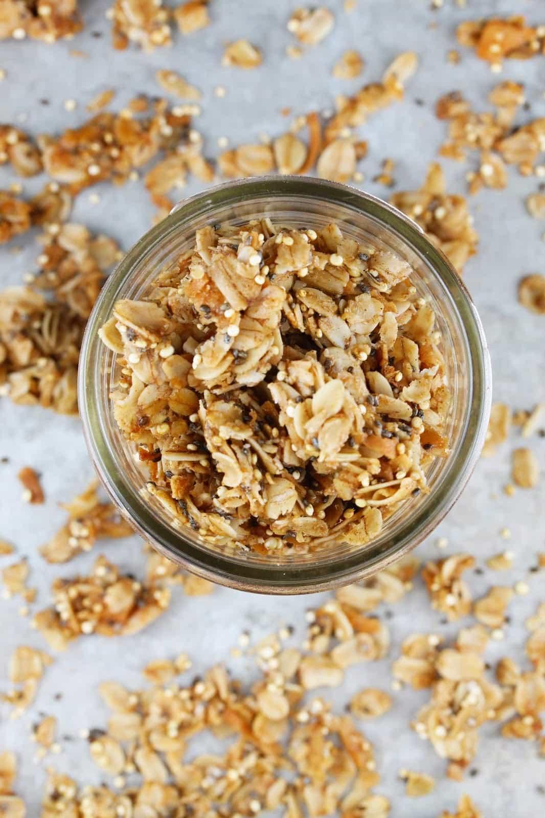 overhead view of coconut quinoa granola