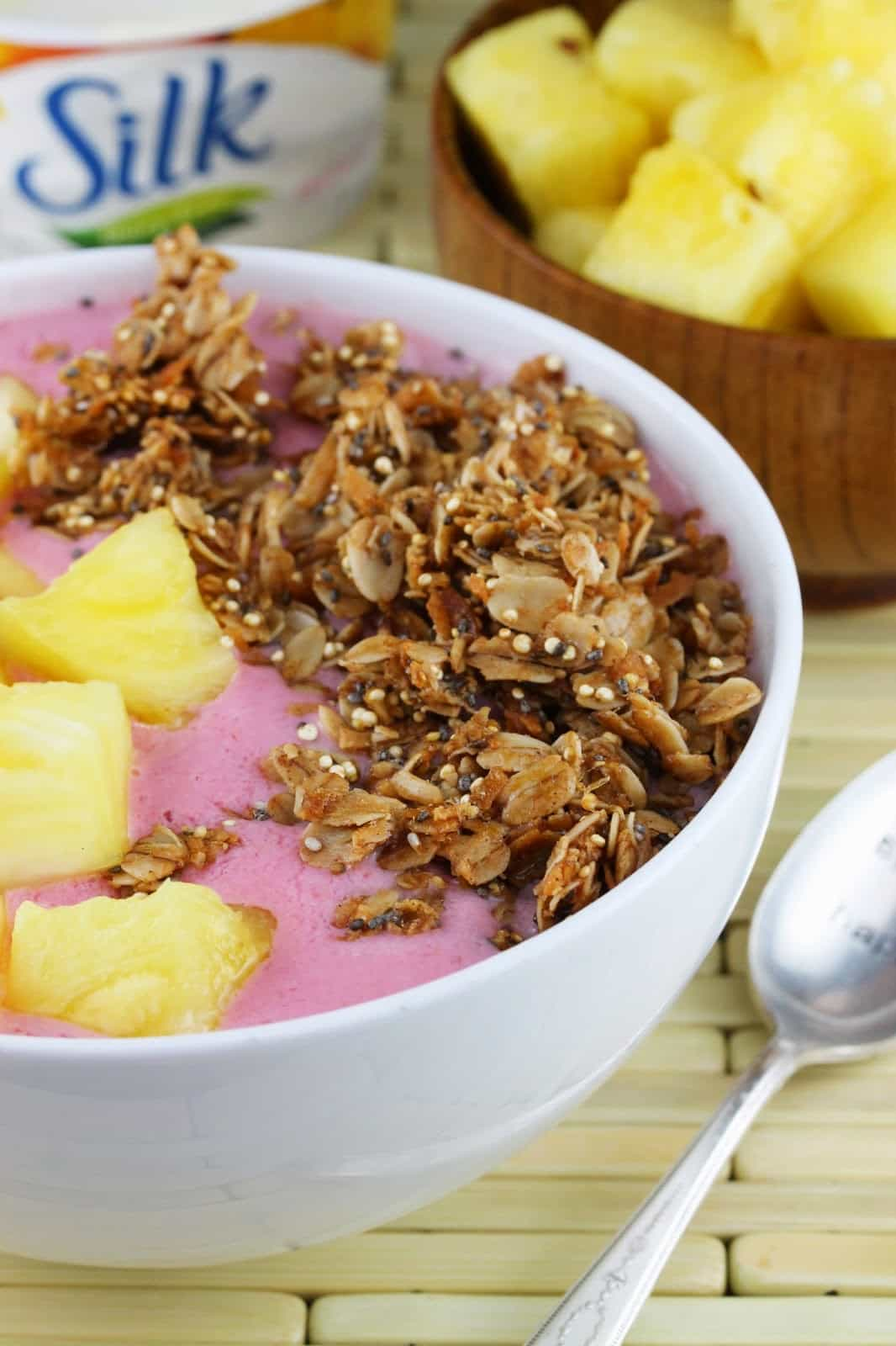 Vegan Tropical Smoothie Breakfast Bowl with Silk Dairy-Free Yogurt Alternative