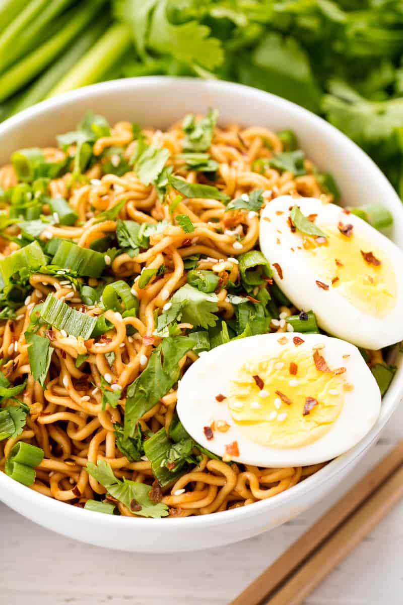 Sriracha ramen noodles with a boiled egg on top