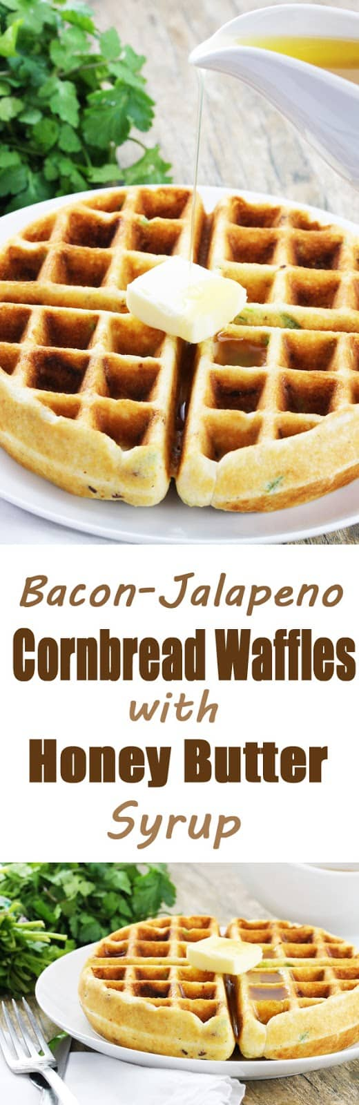 Bacon-Jalapeno Cornbread Waffles with Honey Butter Syrup