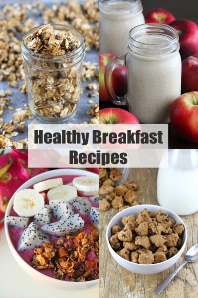 """Decorative collage of food images with header text that reads """"Healthy Breakfast Recipes"""""""